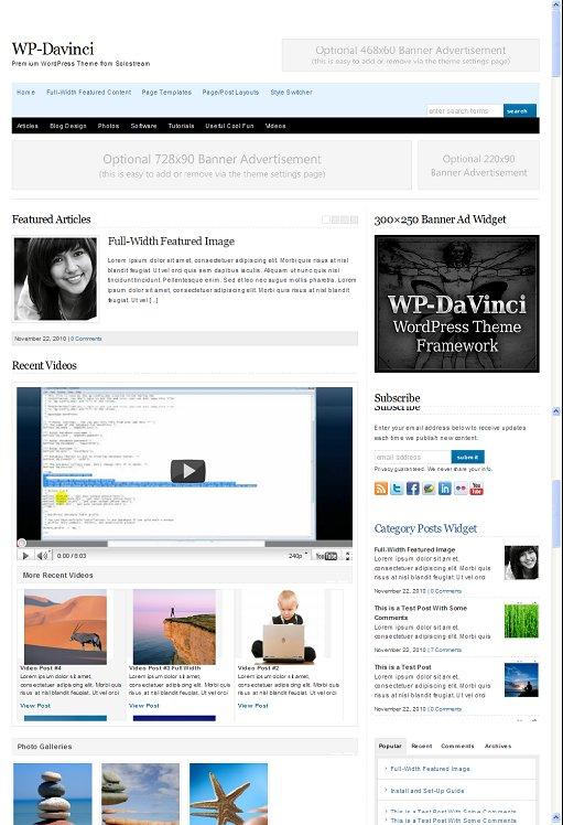 WP-DaVinci FREE Premium WP Solostream Theme