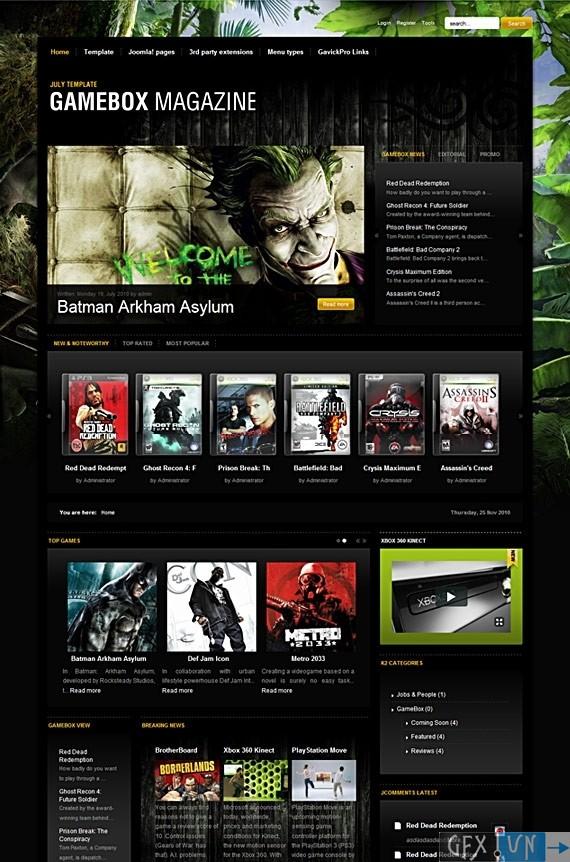 GAMEBOX MAGAZINE v1.0.19 for J1.5 & v1.1 for J1.6 Update – July 2010 Joomla Template