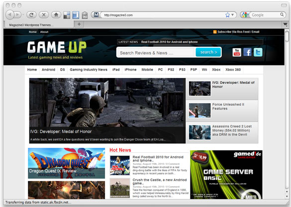 Magazine3.com GameUp WordPress Premium Theme