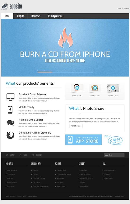 GavickPro Joomla AppSite – April 2011 JoomlaTemplate