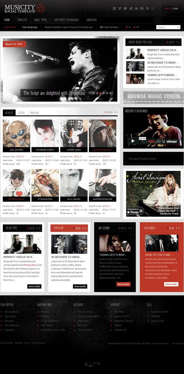 GK Musicity v1.0.4 (support for JomSocial 2.2) Update – February 2011 JoomlaTemplate