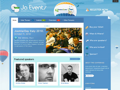 JA Events v1.1.0 for J1.5 & v1.0.0 Beta for J1.6 – Template for Joomla! Events JA Events Template for Joomla Events