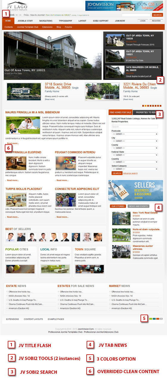 JV Lago v1.5.0 For Joomla 1.5.x & Joomla 1.6.x – The first joomla real estate template