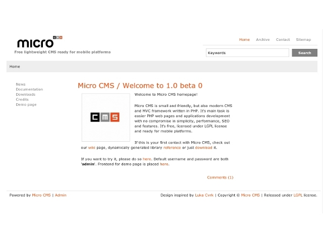 Micro CMS / welcome to