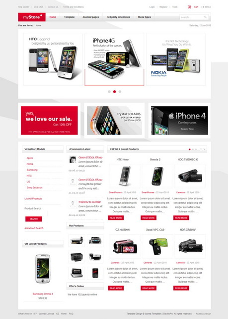 myStore ( + Dark Theme ) v2.0.18 Update – May 2010 Joomla Template