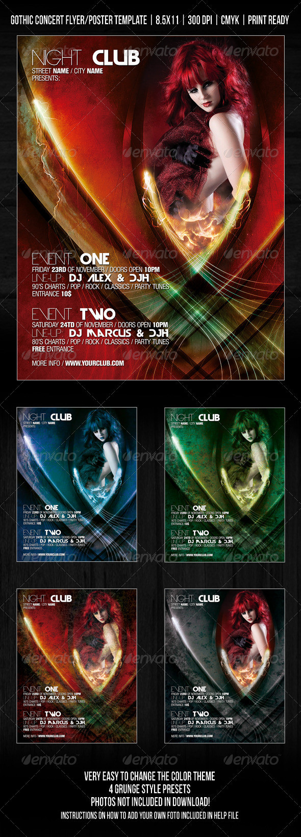 Gothic Night Club Party / Concert Flyer / Poster by GraphicRiver