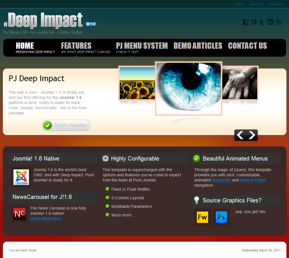 PJ Deep Impact J1.6 – PureJoomla Joomla Club Template