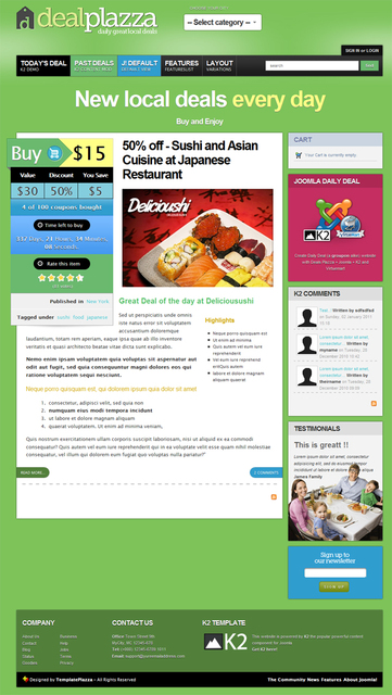Deals Plazza – group buying website Joomla template