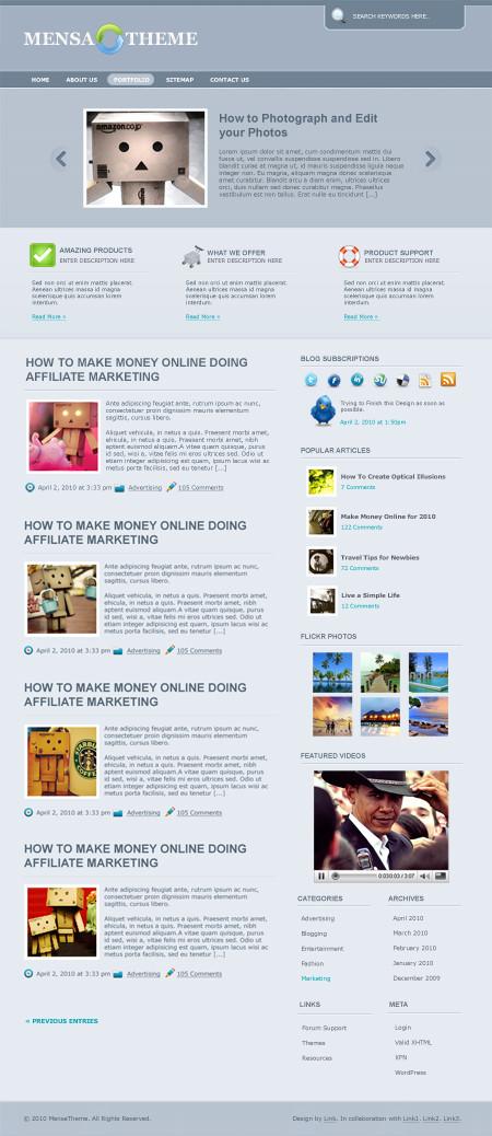 Mensa Theme in 3 Colors – Free WordPress Theme