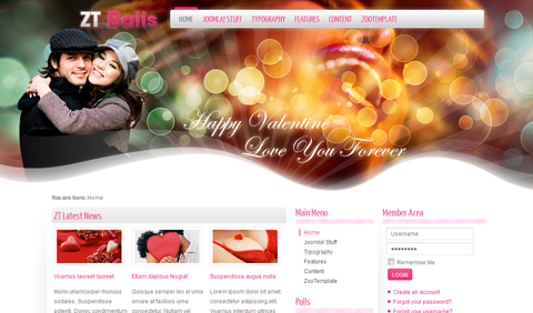 ZT Balis Joomla Dating 1.5 & 1.7 Template by ZooTemplate
