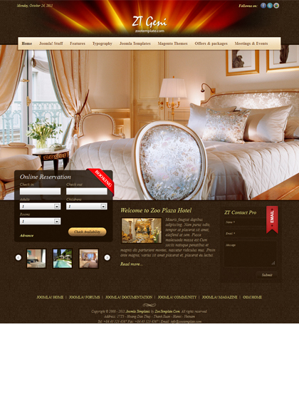 ZT Geni Joomla hotel template for 1.7 by ZooTemplate