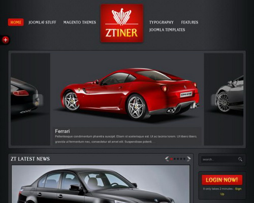 ZT Iner Auto dealer Joomla 1.5 & 1.7 Template by ZooTemplate