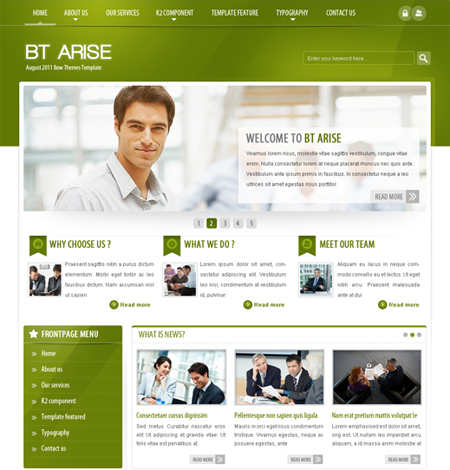 BT Arise Corporate template for Joomla 1.7 has been released
