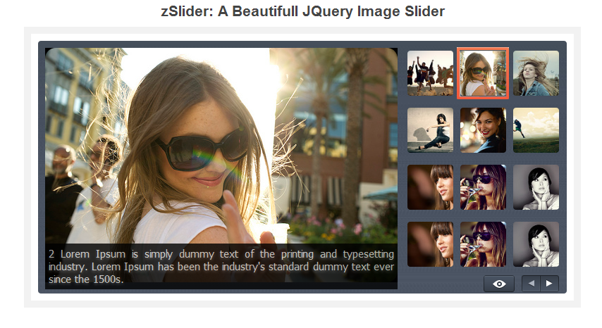 Free Fancy Beautiful JQuery Image Slider with zSlider