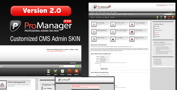 ProManager v2.0 Customized Admin CMS Skin! ThemeForest
