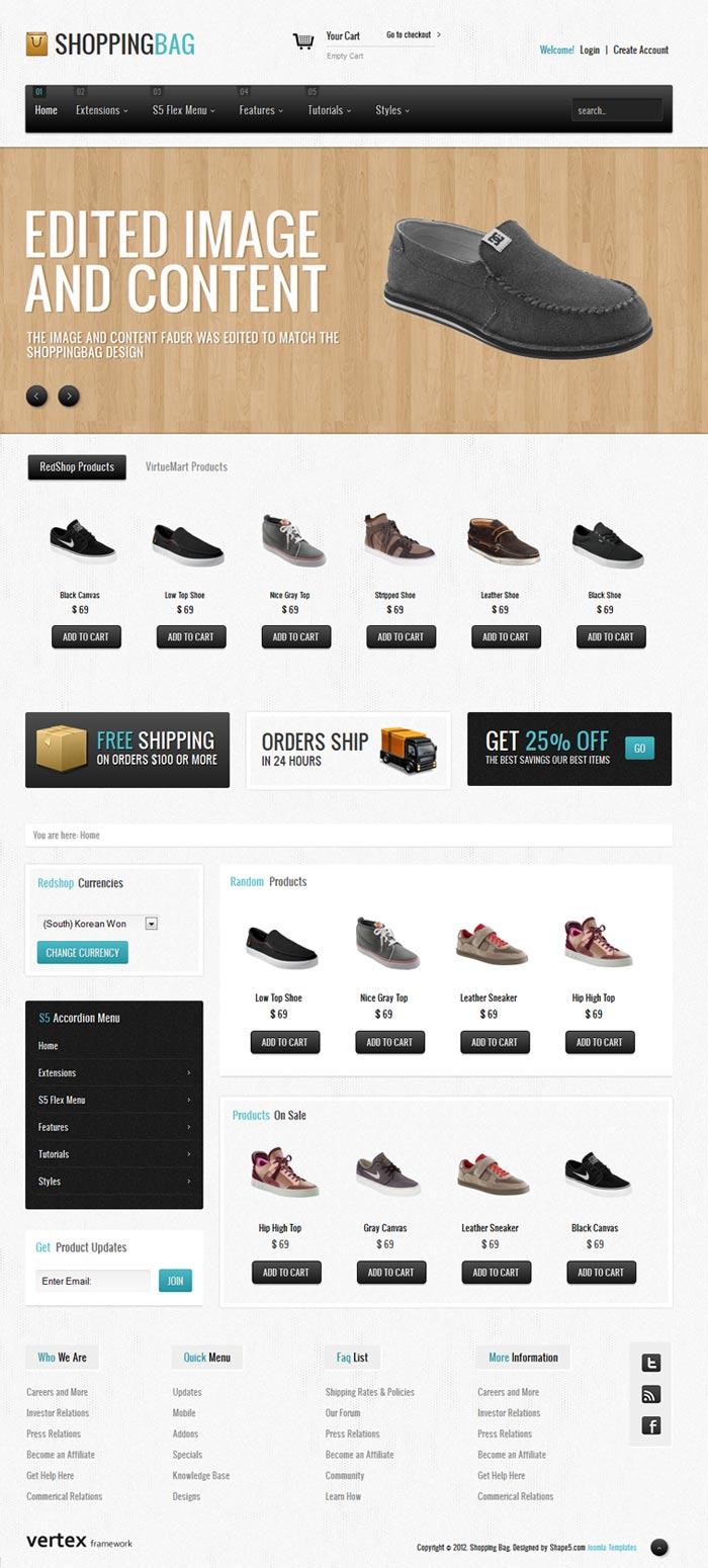 Shape5 Shopping Bag – Joomla! 2.5 Template 2012 eCommerce Joomla! Template