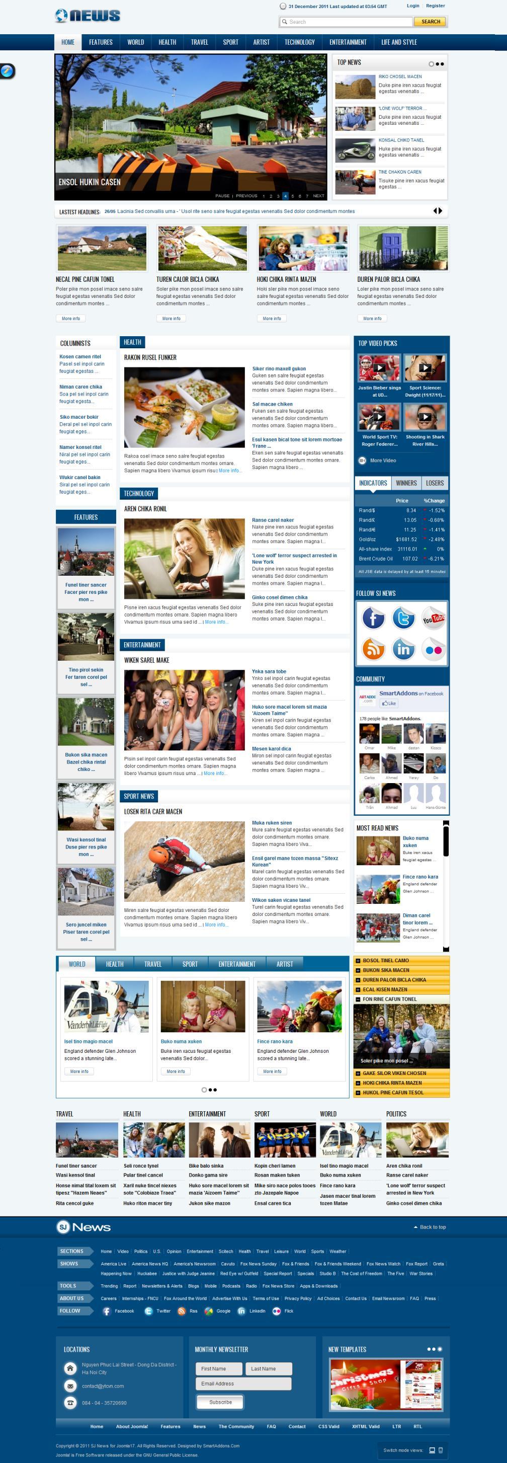 SJ News – Free Joomla! 1.7 & 2.5 Magazine Template 2012 and Yt Plugin for Yt Framework