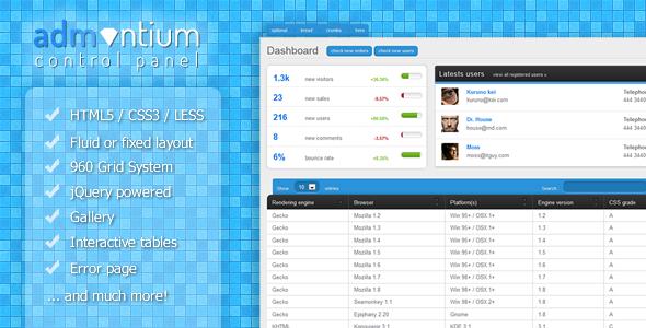 Admantium – Premium Admin Panel 2012 by Themeforest