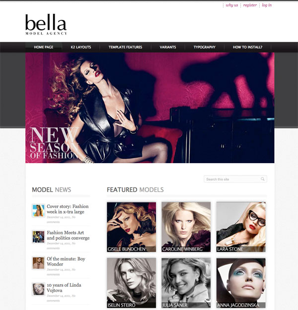 HOT Model Agency Template with K2 Support for Joomla 1.5 & 2.5 template 2012