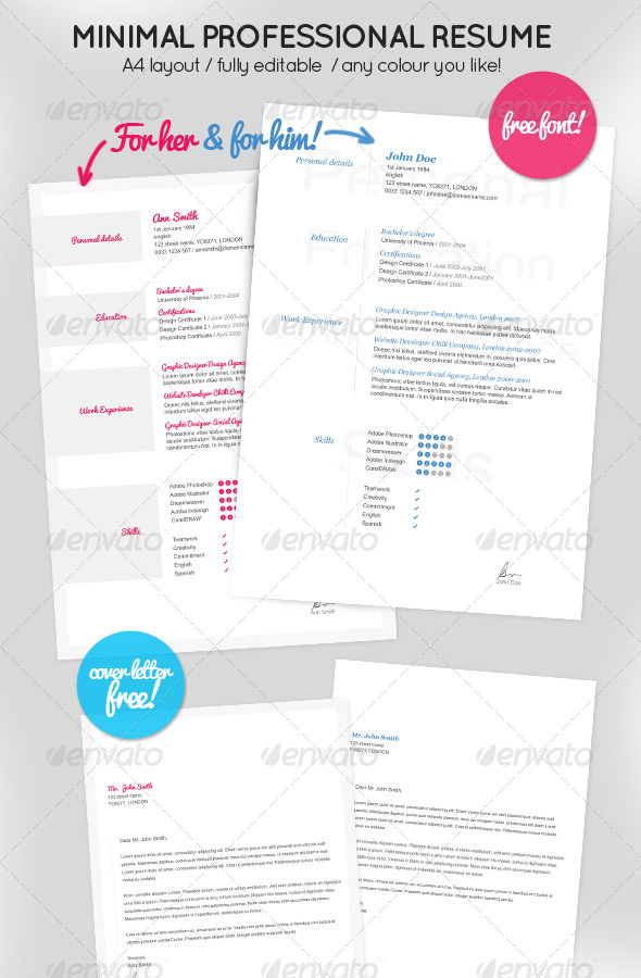 Minimal Resume for Her & Him + Cover letter GraphicRiver