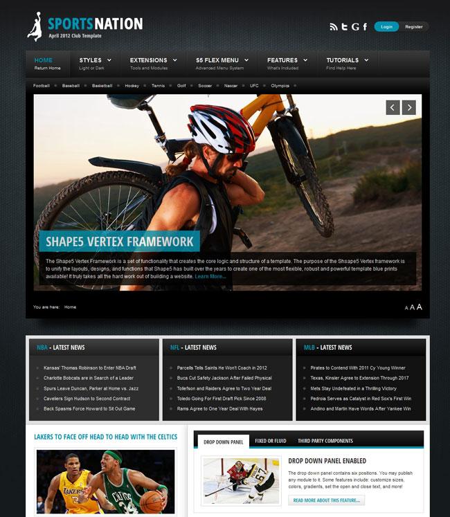 Shape5 Sports Nation – April 2012 Joomla 2.5 Club Template