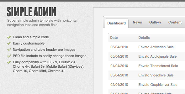 Simple Admin – CSS + PSD by CodeCanyon