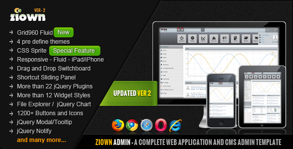 Ziown Admin – A Complete, Clean Admin Template 2012 by ThemeForest
