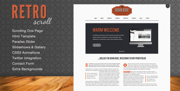 2012 Retro Scroll – Creative One Page Html Template ThemeForest