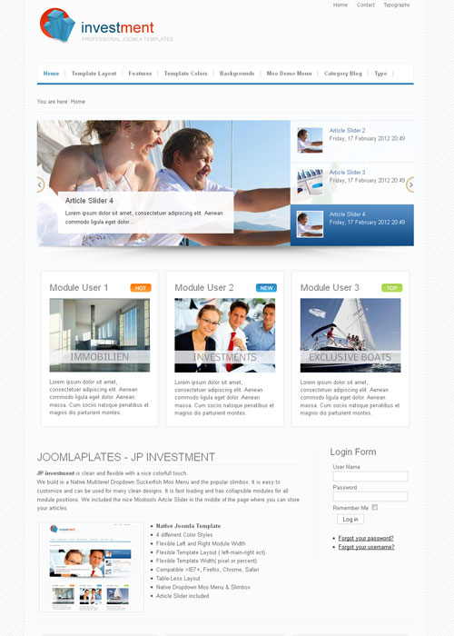 JoomlaPlates NEW! Investment Joomla J1.5 & J2.5 template 2012