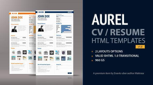ThemeForest Aurel Resume/CV premium HTML Template 2012