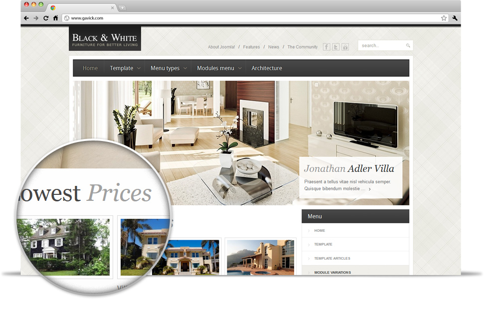 Gavick Black & White v2.9.1 Amazing furniture Joomla 2.5 template