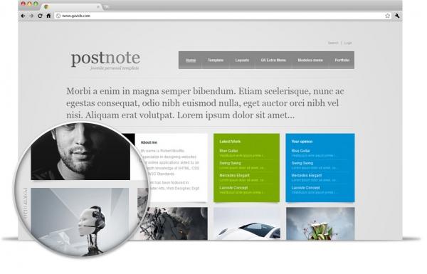 Gavick PostNote v2.9.1 Great portfolio Joomla 2.5 template