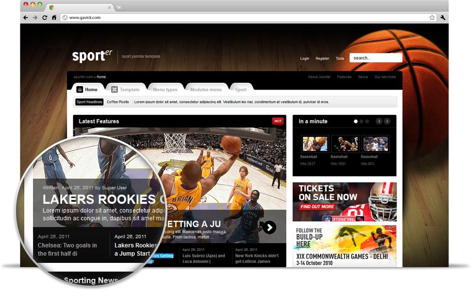Gavick Sporter v2.9.1 Wonderful Sport Portal Joomla 2.5 template