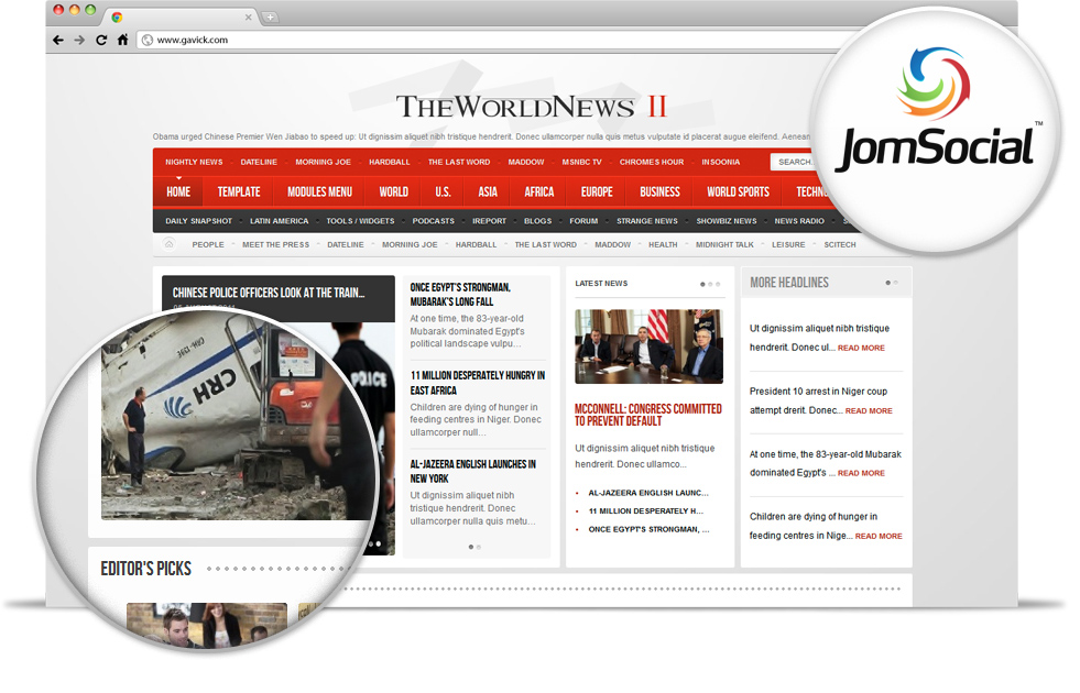 Gavick The World News II v2.9.1 Ravishing News Portal, Magazine Joomla 2.5 template