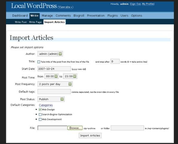 WordPress Article Import Plugin v1.19