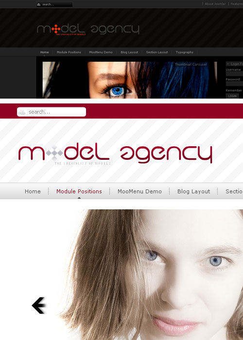 JoomlaPlates Model Agency – Joomla 1.5/2.5 template