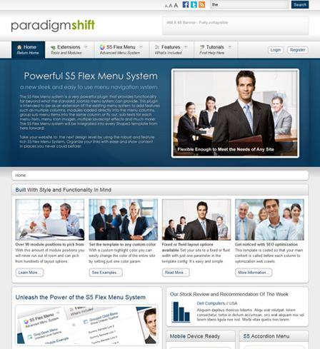 Shape5 Paradigm Shift 1.0 for Joomla 2.5 Template