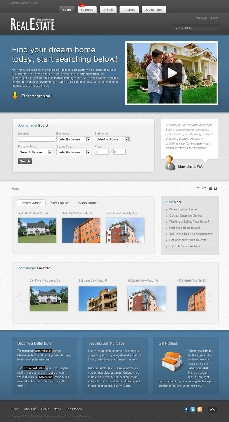 Shape5 Real Estate Joomla 2.5 Template