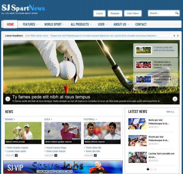SJ Sport News – Joomla! Template For J2.5