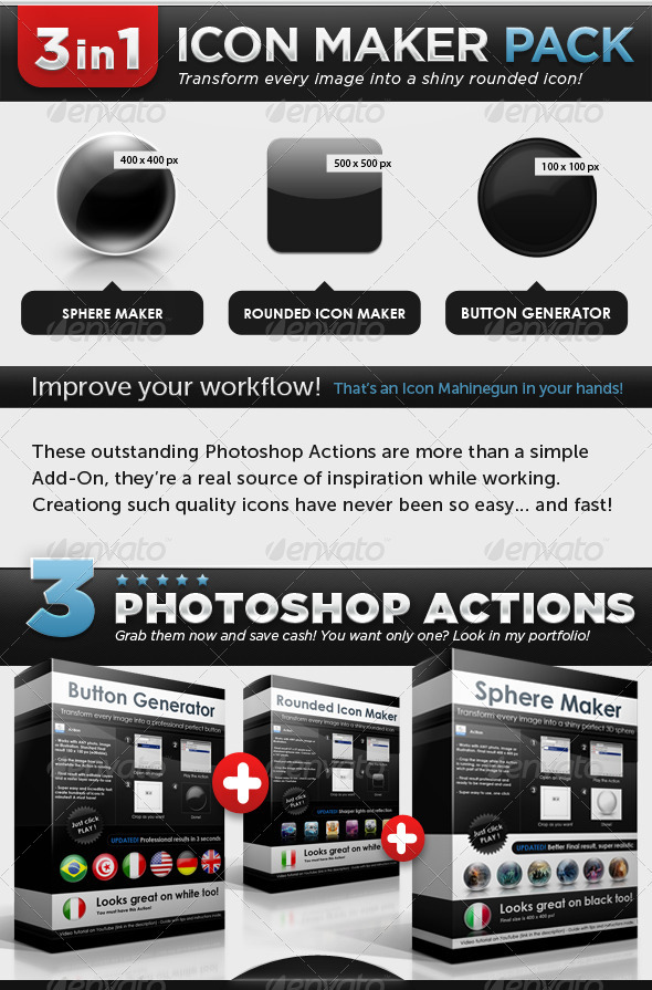 GraphicRiver – Icon Maker Pack Buttons Spheres Rounded Icons