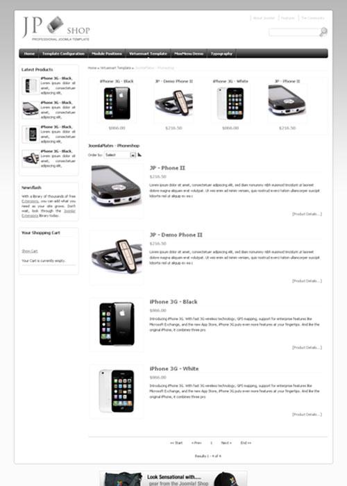 JP Shop – Joomla 1.5 & 2.5 Ecommerce template