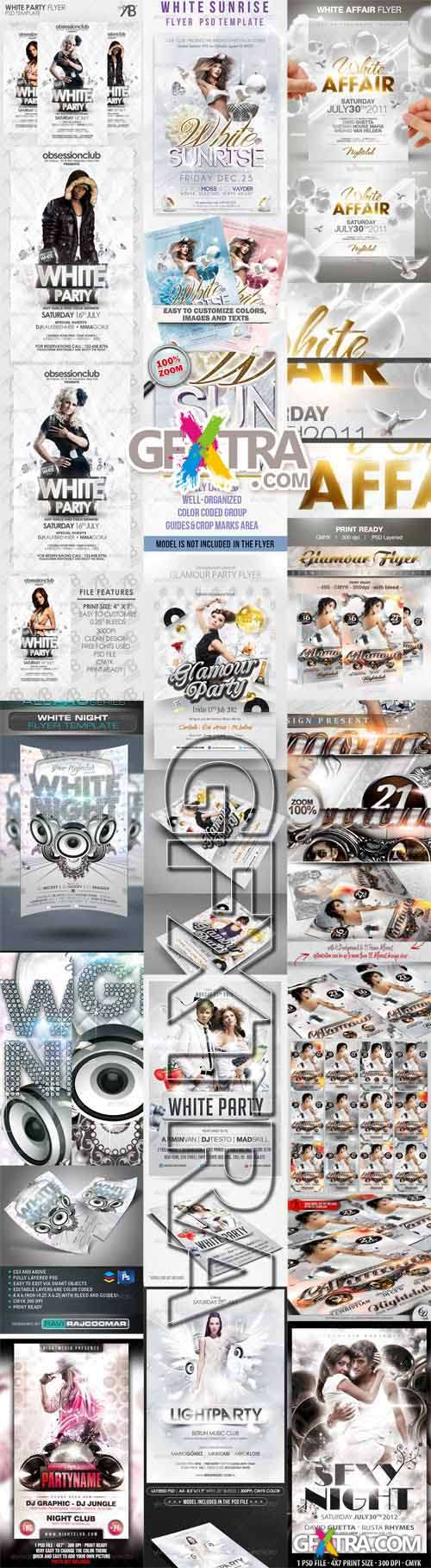 10 White Glamour Flyer/Poster Template Bundle