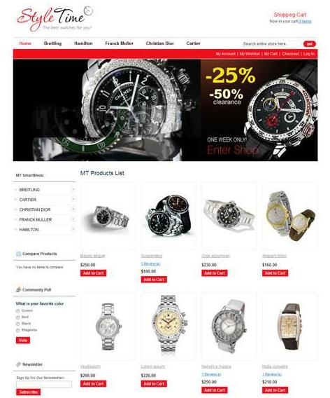9MagentoThemes – MT Eody – Watches Magento Theme