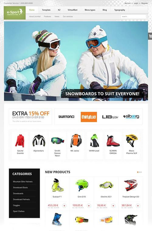 eSport v2.11 Stunning eCommerce template For Joomla 2.5