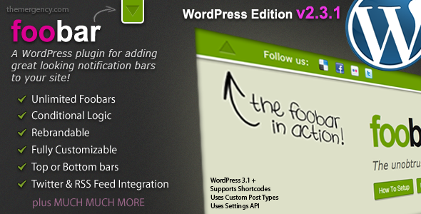Foobar – WordPress Notification Bars V2.33