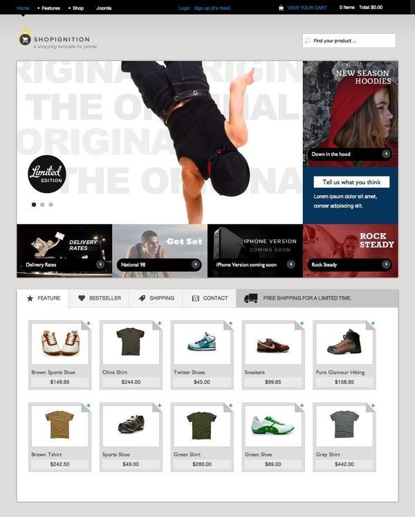 JB Shop Ignition Ecommerce Template for Joomla 2.5