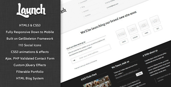 Launch – Responsive Coming Soon Mini-Site