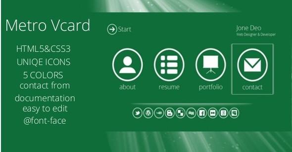 Metro – Personal Portfolio HTML5/CSS3 vCard