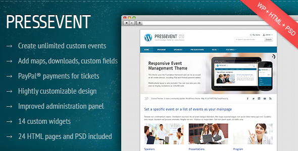 PressEvent – Event Management WordPress Theme v0.4