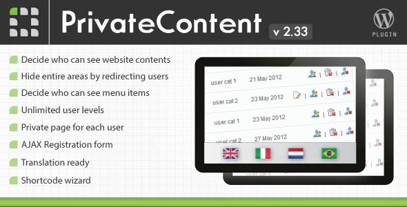 PrivateContent v2.31 – Multilevel Content Plugin for WordPress